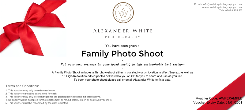 Family portrait photo voucher