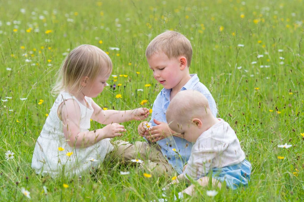 Small group of young children playing in a field of wild flowers