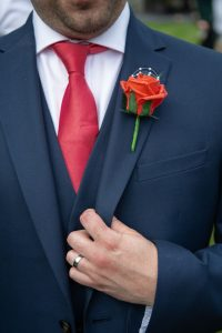 wedding photo of the groom's suit details